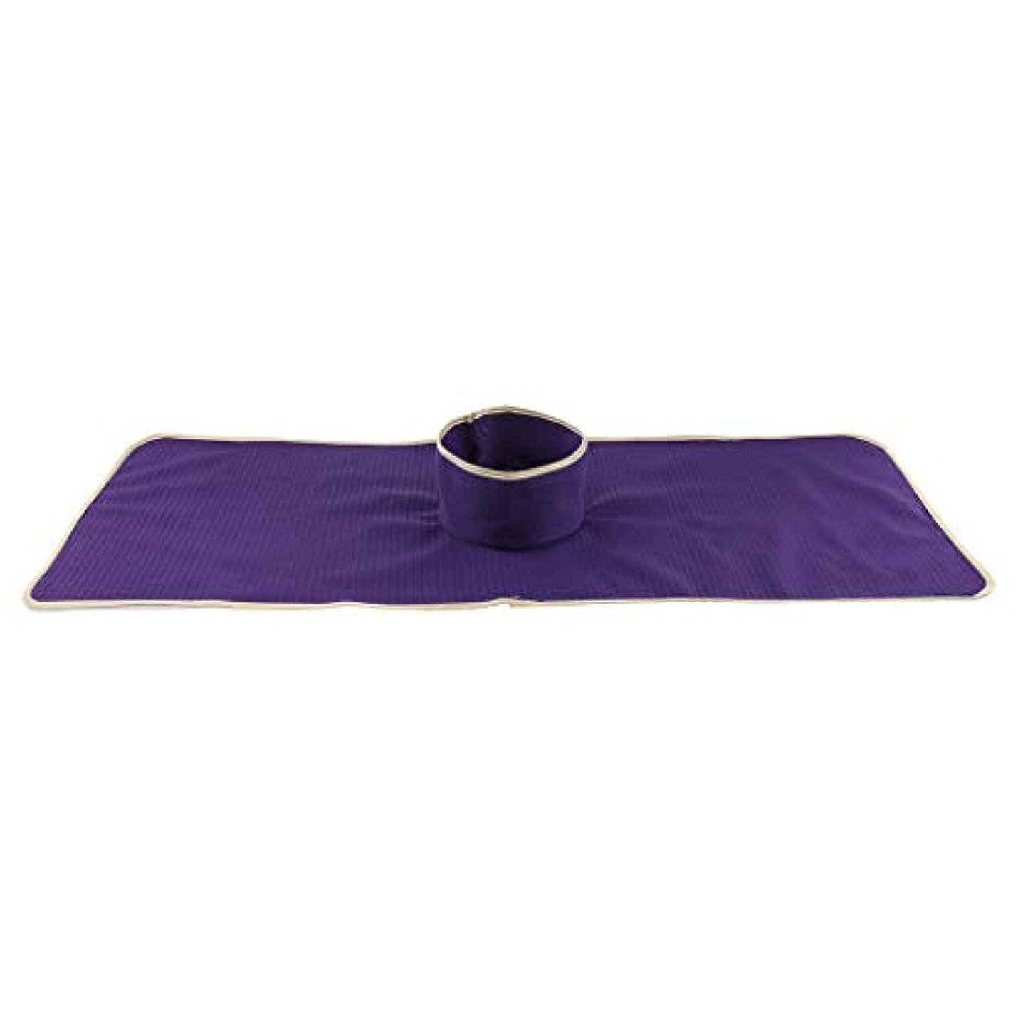しかしプレゼンテーション要求するサロン 美容院 マッサージのベッド パッド 穴付き 洗える 約90×35cm 全3色 - 紫