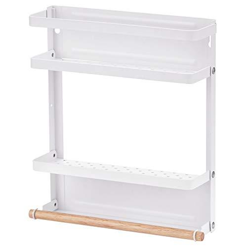 マグネット冷蔵庫サイドラック 折りたたみ式,Arc Radle キッチンペーパーホルダー 収納便利 ホワイト