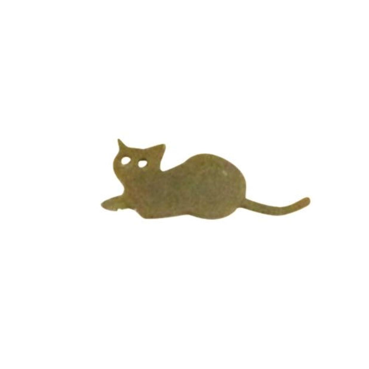 取り除く統合するスペクトラムリトルプリティー ネイルアートパーツ 猫5 ゴールド 10個