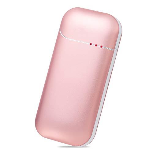 Sennic 電気カイロ USB充電式カイロ 5200mAh大容量 電気あんか 1台2役 モバイルバッテリー 両面急速発熱 ハンドウォーマー 3段階切り替え 充電式カイロ 寒さ対策 スマホ充電・暖手機能付き 通勤 通学 誕生日 プレゼント ピンク