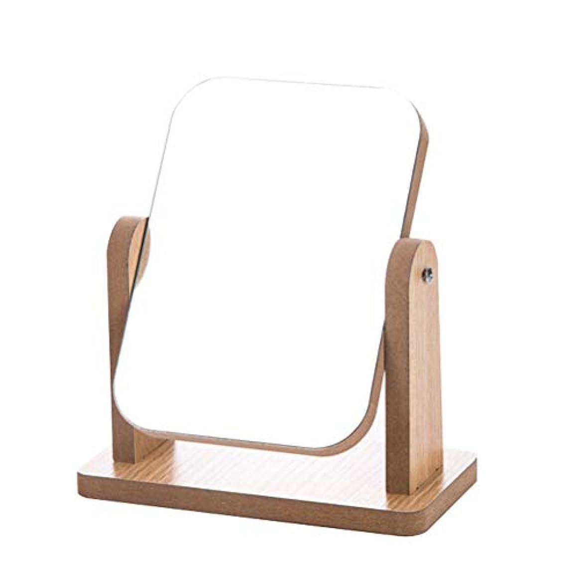 驚くべきやがてメタルラインLurrose 卓上化粧台ミラー長方形折りたたみ木製デスクトップミラー寝室の装飾化粧品ミラー(サイズL)