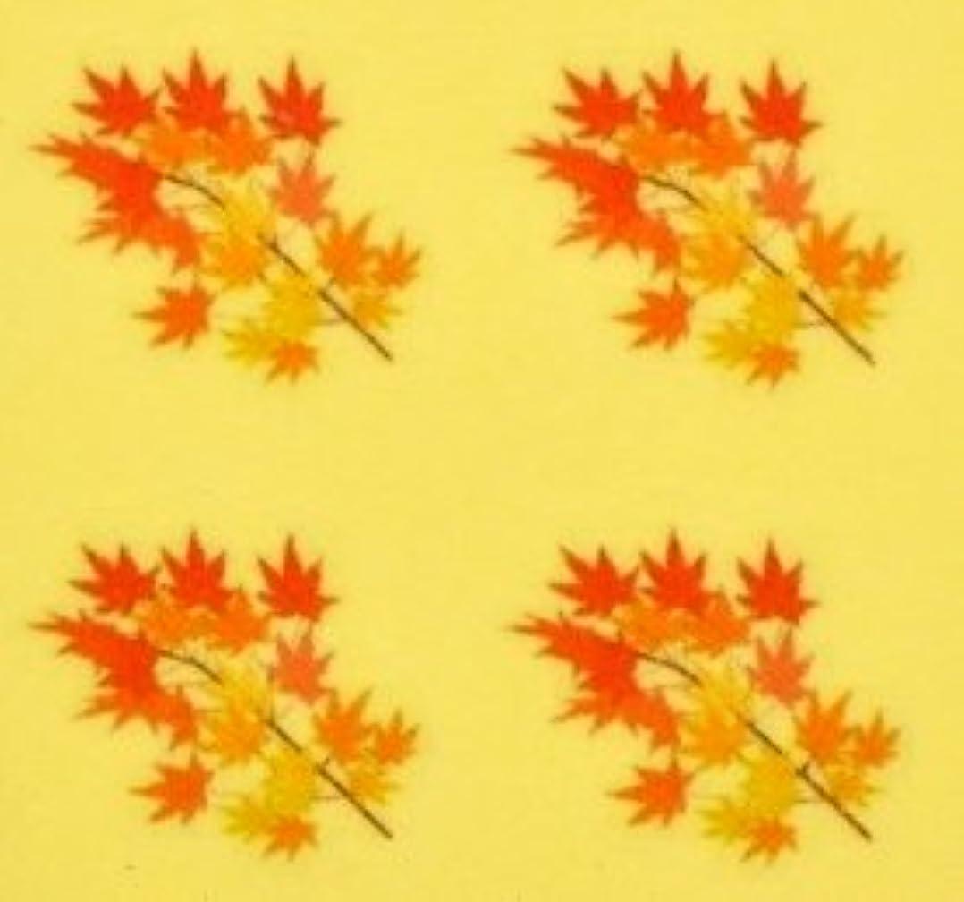 多数のファセット逃げる紅葉?秋【ネイルデザインシール】もみじ(5)/1シート4枚入