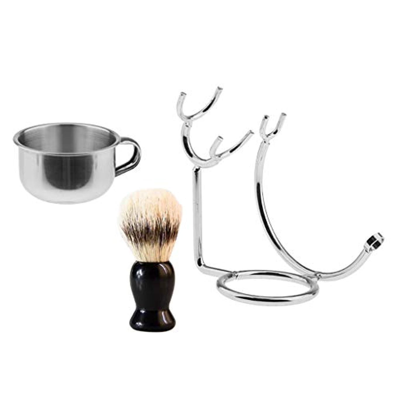 ペットモニター誤解するシェービング 髭剃り シェービングボウル シェービングブラシ ブラシスタンド 理容 洗顔 メンズ用 3点