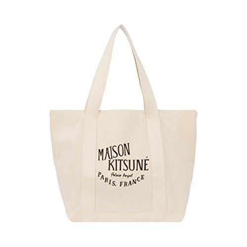 メゾン キツネ MAISON KITSUNE ショッピングバッグ キャンバス トート Shopping Bag PALAIS ROYAL キャンバスロゴトートバッグ FW15U835 カバン レディース (ECRU×BLACK(ナチュラルホワイト×ブラックプリント))