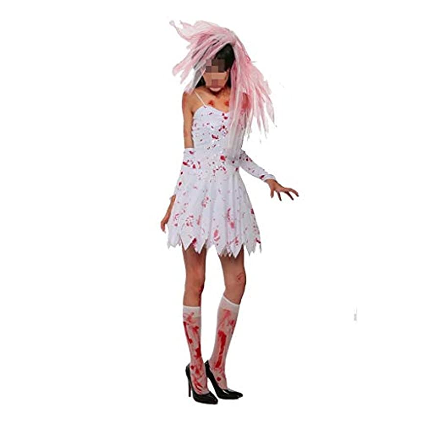 古い告白あいまい女性の吸血鬼スリングドレスハロウィン衣装ダークゴースト花嫁ロングドレスコスプレパーティーゾンビ花嫁花嫁スカート (Color : White, Size : L)
