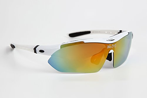 2key 4カラー サングラス ミラー レンズ 豪華セット レンズ5枚 ユニセックス 男女兼用 (白 ホワイト)