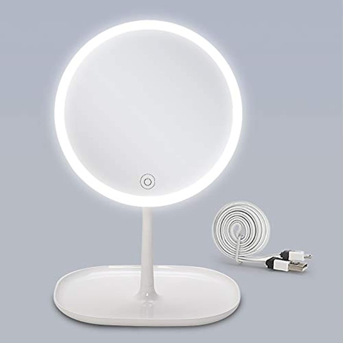 ましい面倒優遇(セーディコ)Cerdeco 大きめLEDメイクアップミラー 自然な光 タッチパネルで3段階調光 便利なトレー 卓上鏡 スタンドミラー 昼光色/電球色/昼白色 USBケーブル付き 鏡面φ201mm