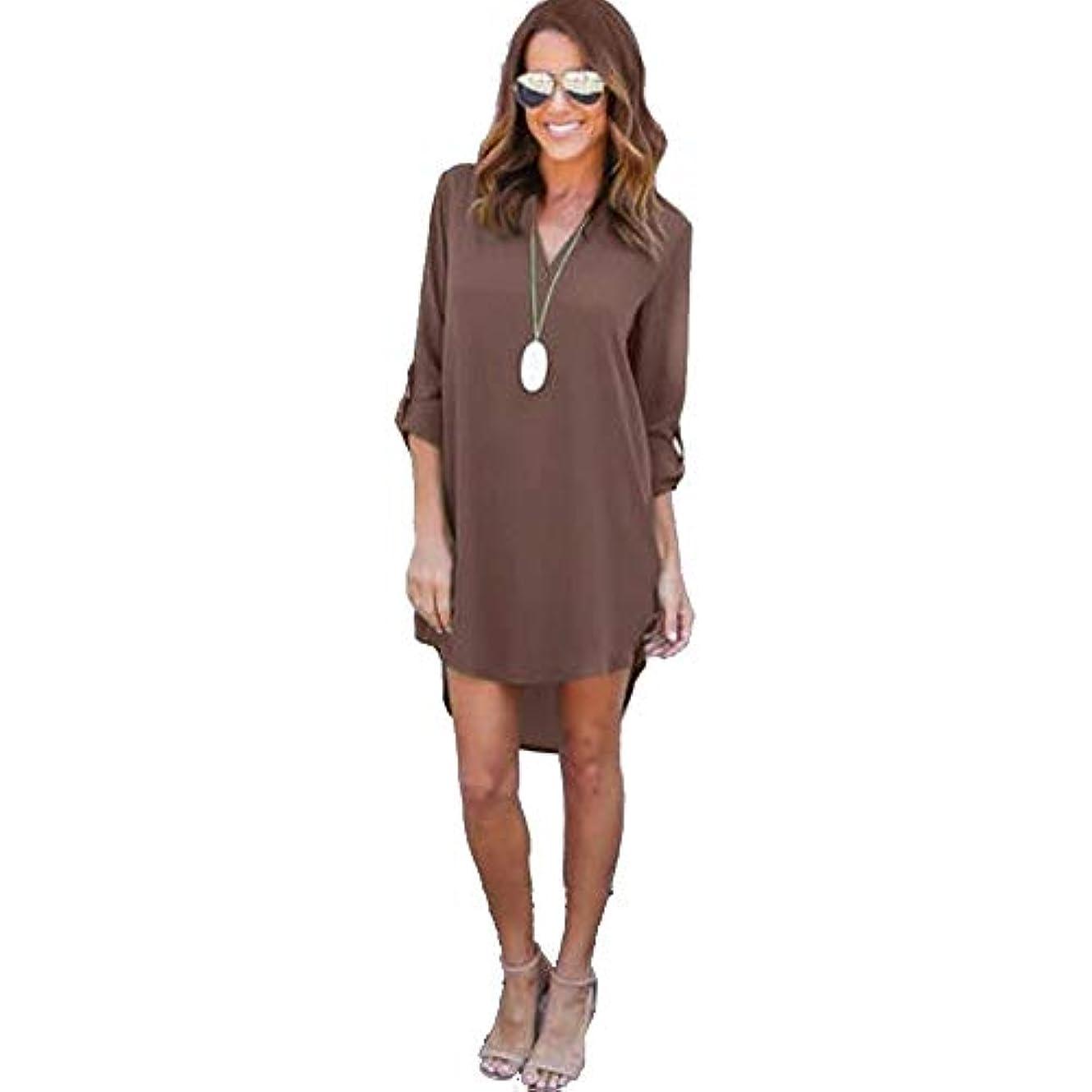 MIFAN女性ドレス、シフォン、Vネック、無地、長袖、ゆったり、ミニドレス、Tシャツドレス