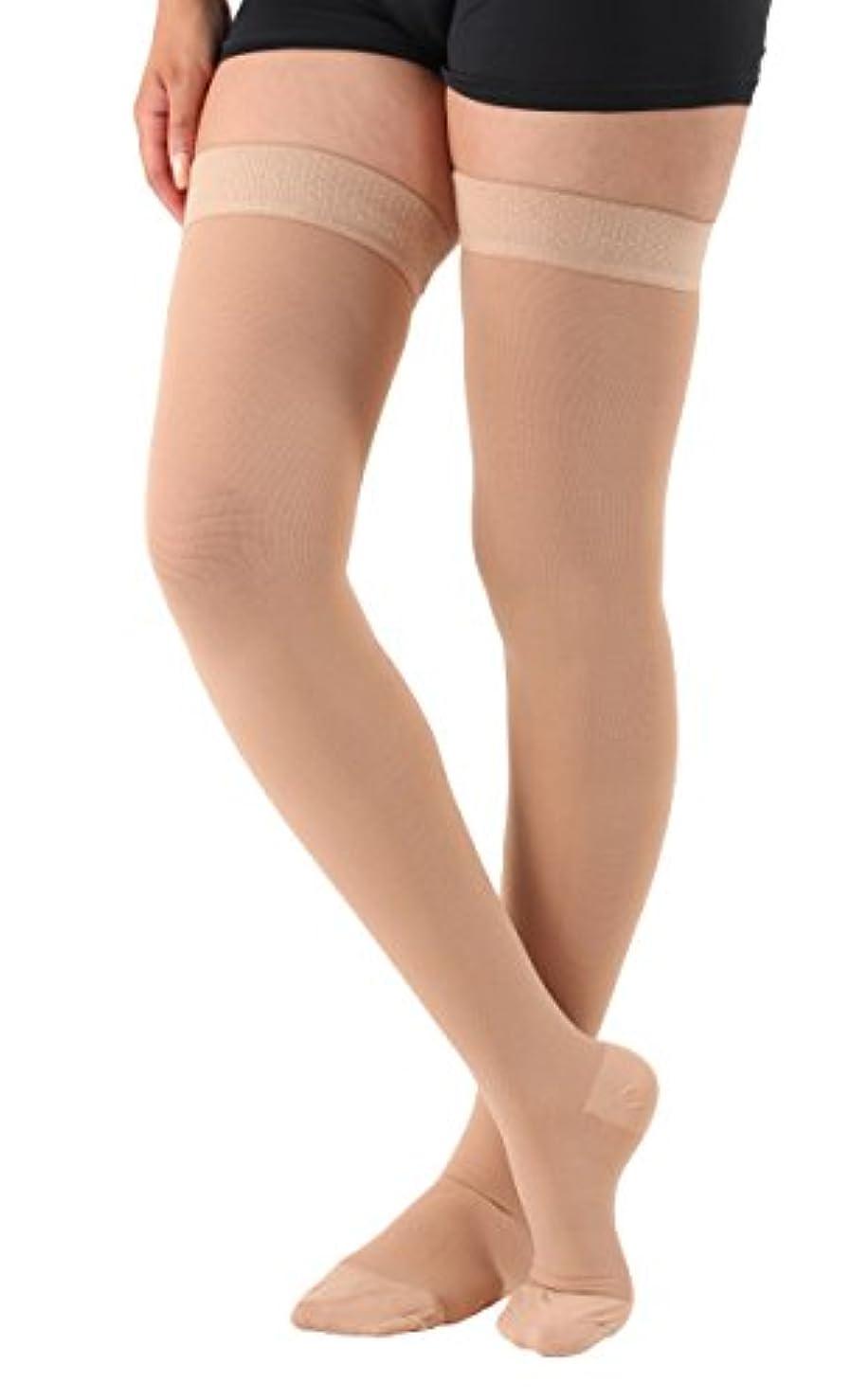 セットする剪断あさりOpaque Compression thigh high With Silicone Border Closed Toe Firm Support 20-30mmHg - Absolute Support- Made...