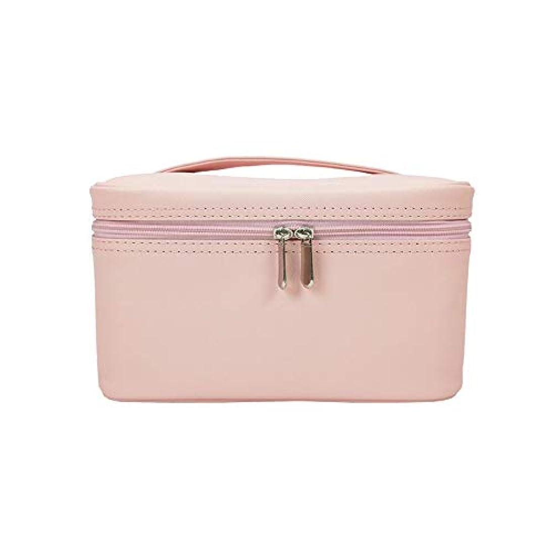 見かけ上こっそり逆化粧オーガナイザーバッグ メイクアップトラベルバッグPUレター防水化粧ケースのティーン女の子の女性のアーティスト 化粧品ケース (色 : ピンク)