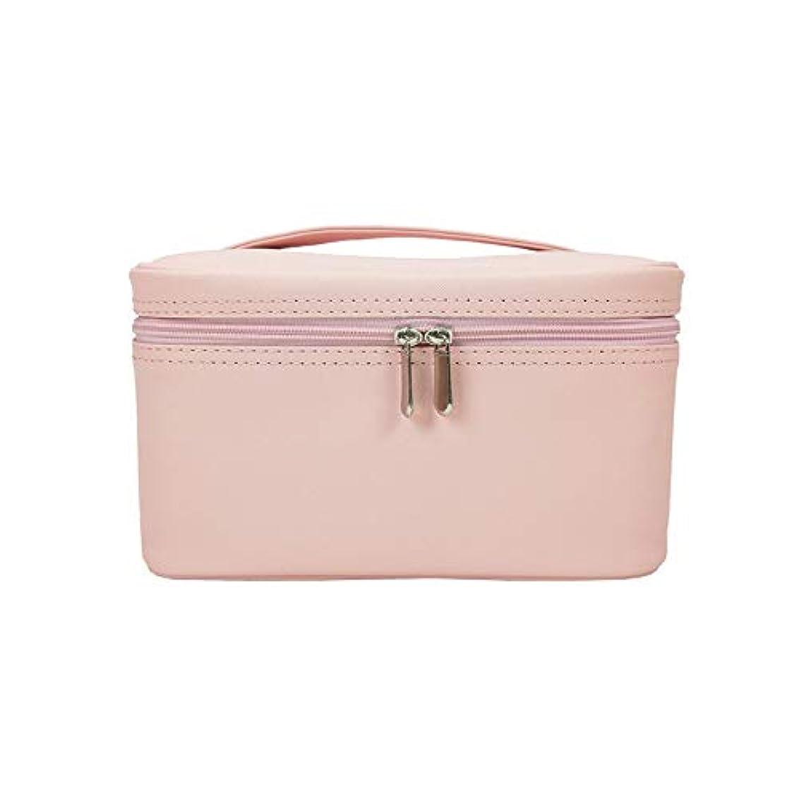 特派員過言設置化粧オーガナイザーバッグ メイクアップトラベルバッグPUレター防水化粧ケースのティーン女の子の女性のアーティスト 化粧品ケース (色 : ピンク)