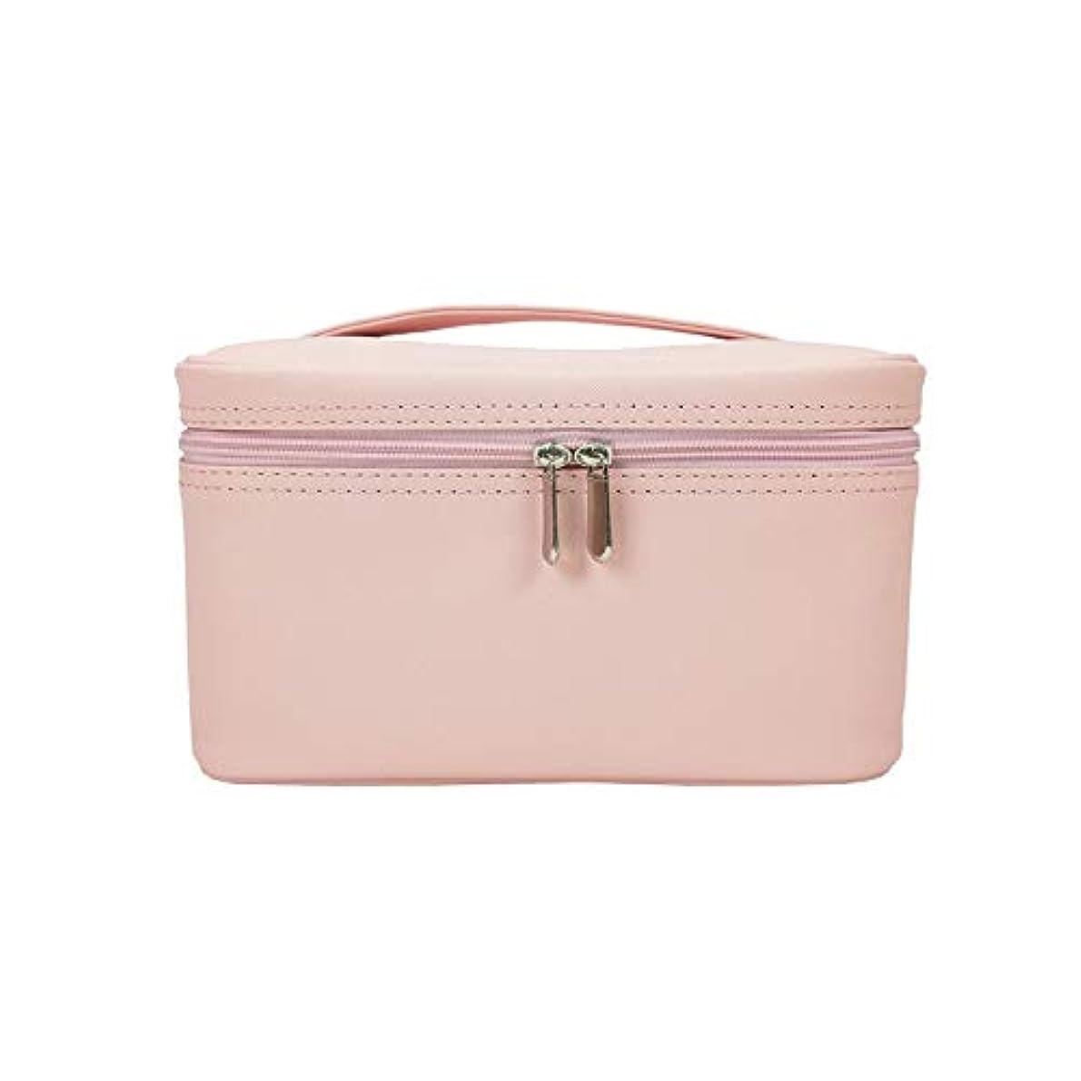 ファーム納得させる結紮特大スペース収納ビューティーボックス 女の子の女性旅行のための新しく、実用的な携帯用化粧箱およびロックおよび皿が付いている毎日の貯蔵 化粧品化粧台 (色 : ピンク)