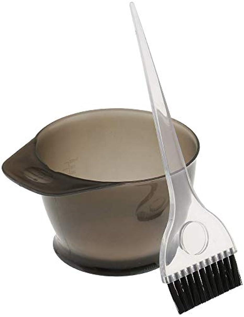 簡単に強風接続ヘアカラーリング 染色ボウル くしブラシ 色合いツール セットする に適う サロン理髪 ホーム 個人的な使用 (グレー)
