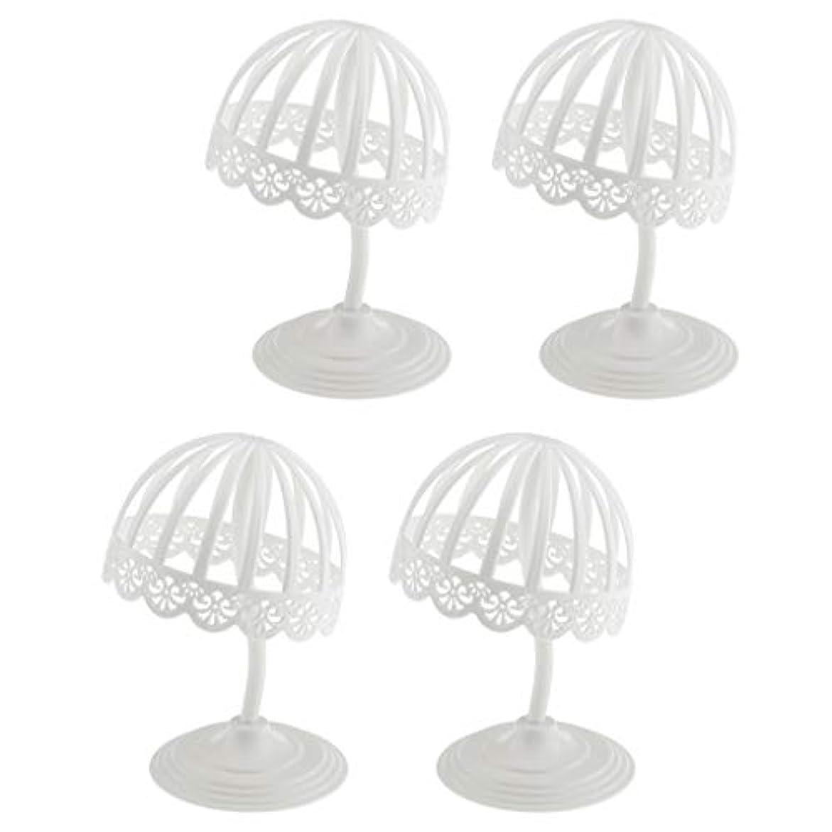 ホバー飾る換気4個セット ウィッグ スタンド 帽子 収納 ディスプレイ ホルダー プラスチック製 ホワイト