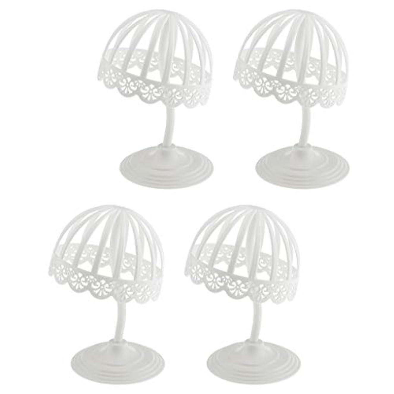 担保意気揚々変位Perfeclan 4個セット ウィッグ スタンド 帽子 収納 ディスプレイ ホルダー プラスチック製 ホワイト