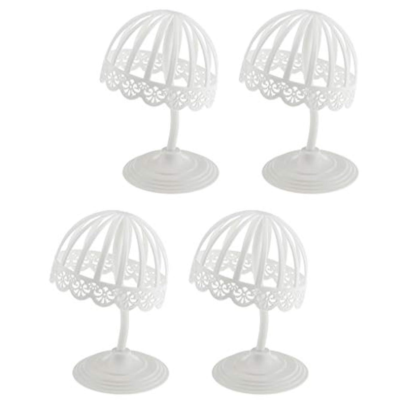 略すスムーズにコミュニティPerfeclan 4個セット ウィッグ スタンド 帽子 収納 ディスプレイ ホルダー プラスチック製 ホワイト