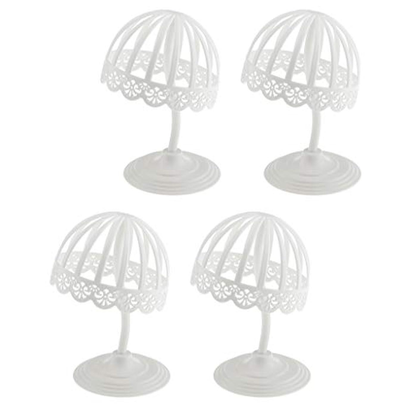 Perfeclan 4個セット ウィッグ スタンド 帽子 収納 ディスプレイ ホルダー プラスチック製 ホワイト