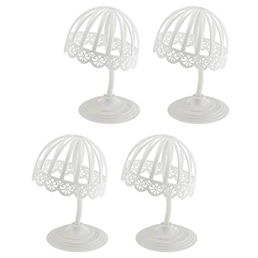 シャイニング戦いバリアPerfeclan 4個セット ウィッグ スタンド 帽子 収納 ディスプレイ ホルダー プラスチック製 ホワイト