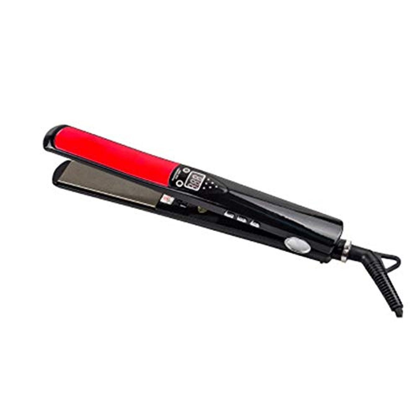 設置手術民主主義カーリーヘア&ストレートヘア2 in 1電気スプリント、液晶チタンプレートカーリングアイロン、急速加熱ストレイテナー モデリングツール (色 : 黒)