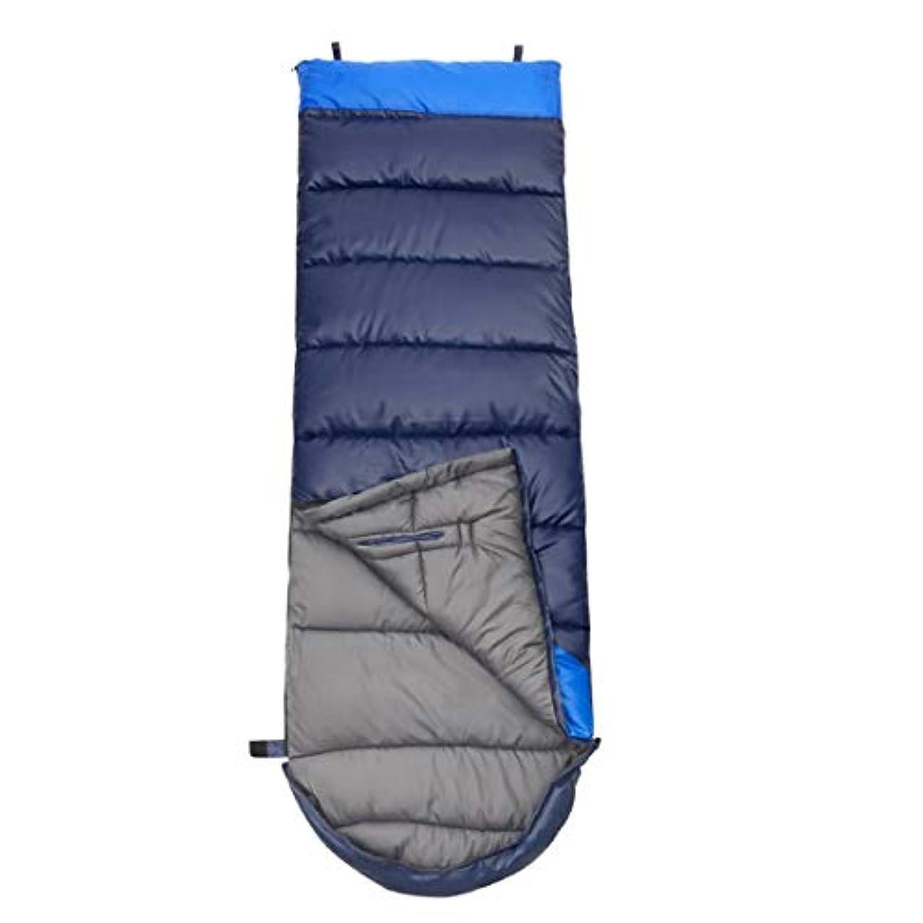 ダーツ解読するファイルMakecny 1.95kgキャンプスプライシング寝袋スプリング厚いフード付きハンドタイプ軽量ポータブル防水快適圧縮バッグ旅行 (色 : 青, サイズ : 1.95kg)