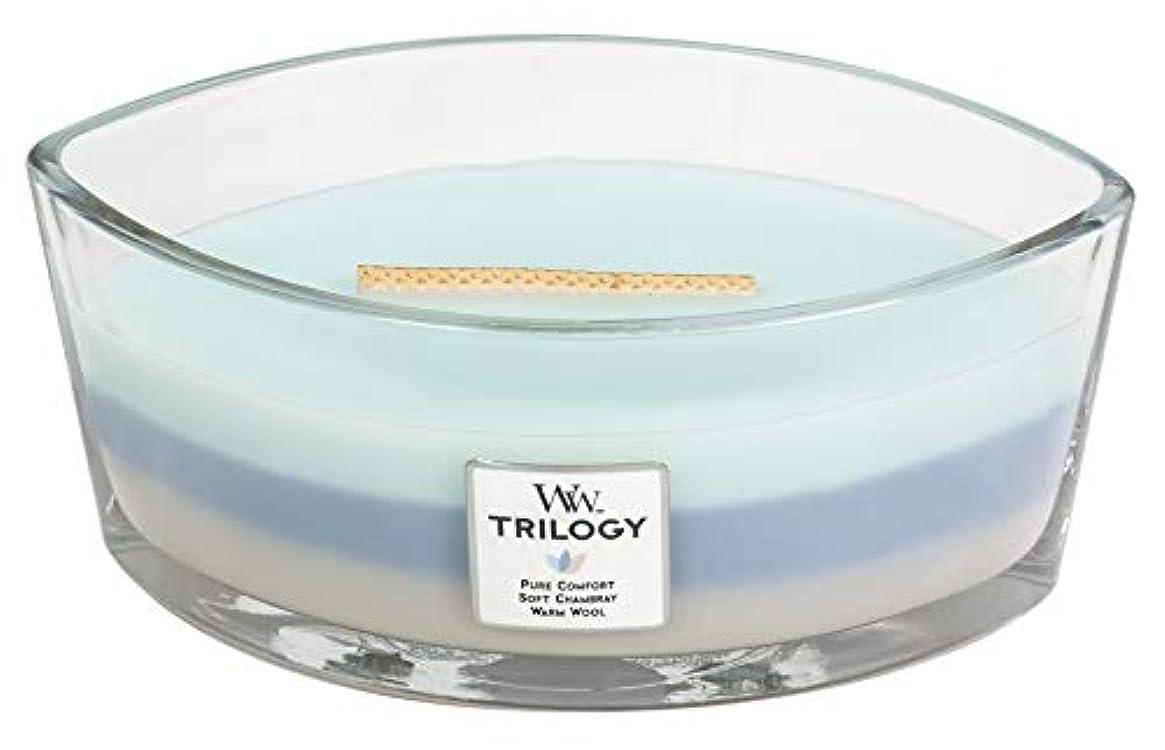 円形複合素人WOVEN COMFORTS TRILOGY - HearthWick Flame Scented Candle by WoodWick - 3 in One