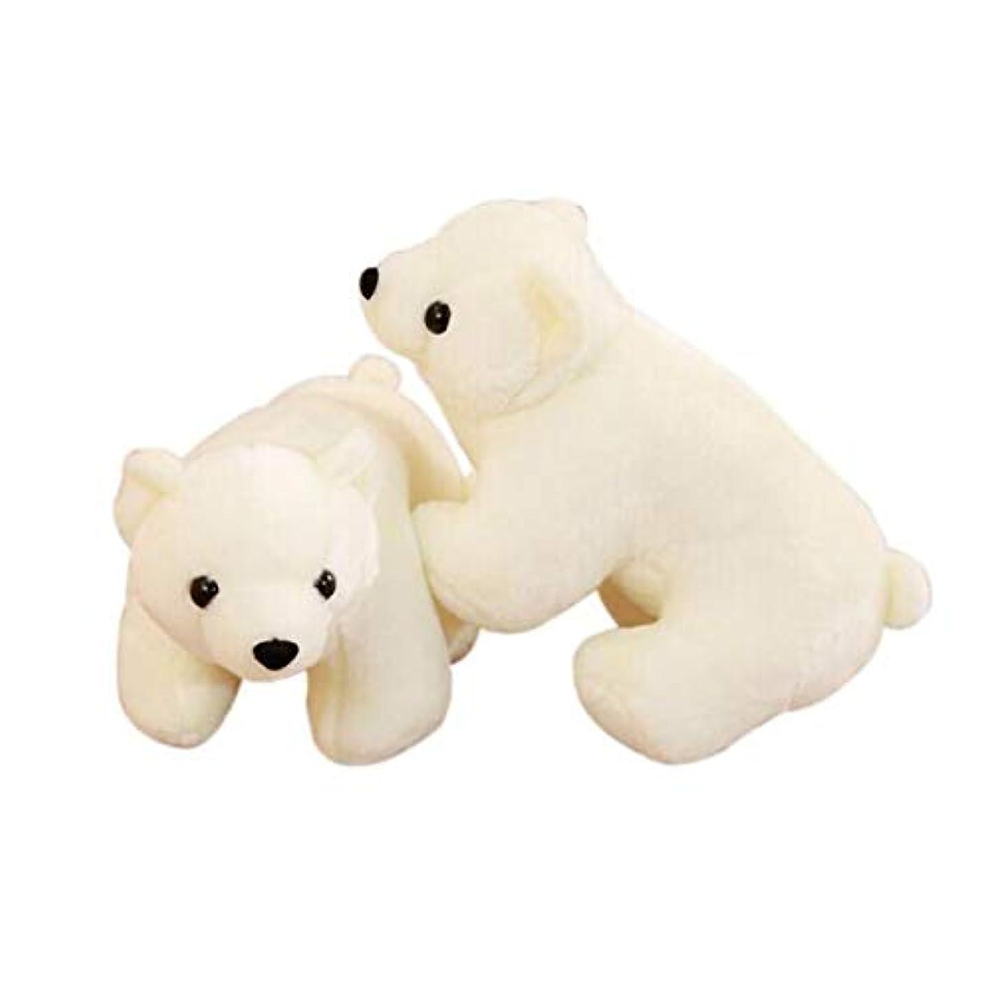拒絶する小包配置GUYUEXUAN かわいいシミュレーションホッキョクグマ抱擁小さな白いクマぬいぐるみ人形人形人形赤ちゃんミニトランペットクリスマスギフトウェディングギフトベージュホワイト24センチ (Size : 30cm)
