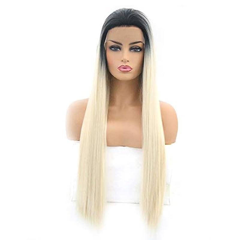 ご意見乳白相続人ファッショナブルな女性のかつら、長いストレートの髪のかつら、調整可能なかつら16から26インチの自然なフロントレースグラデーション