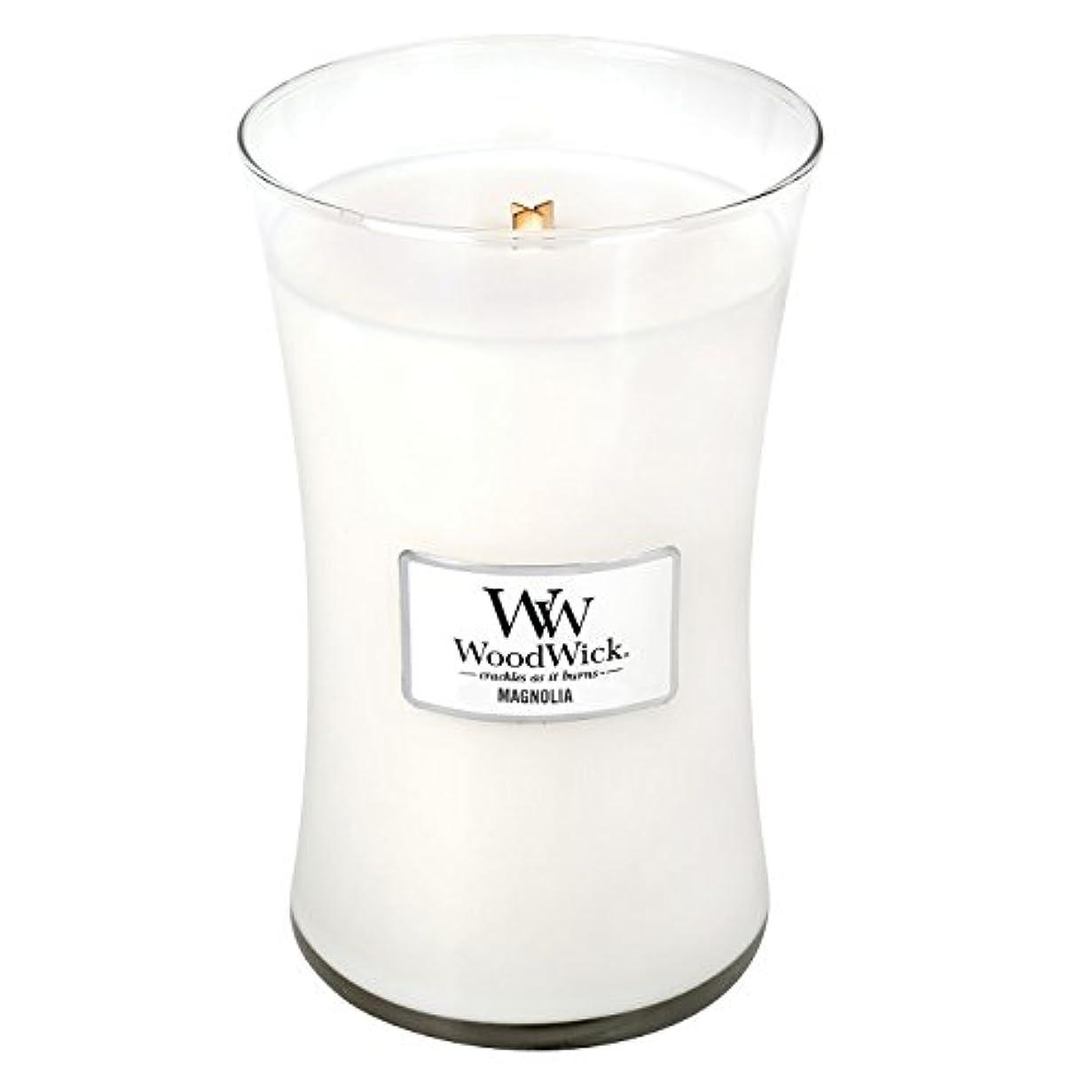 前方へ粘着性私たちWoodwick Magnolia , Highly Scented Candle、クラシック砂時計Jar , Large 7-inch、21.5 Oz