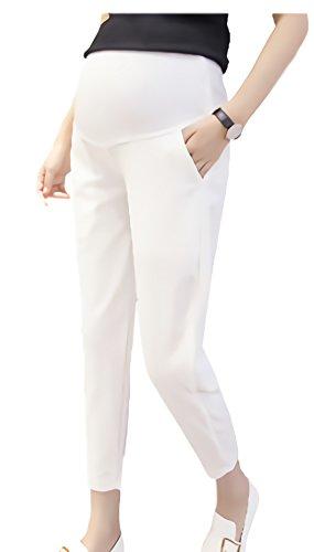RIVER PARIS do ゆったり らくちん 産前 産後 マタニティ ストレッチ パンツ マタニティー ボトム M ~ 3XL レディース (白/ホワイト, XL)