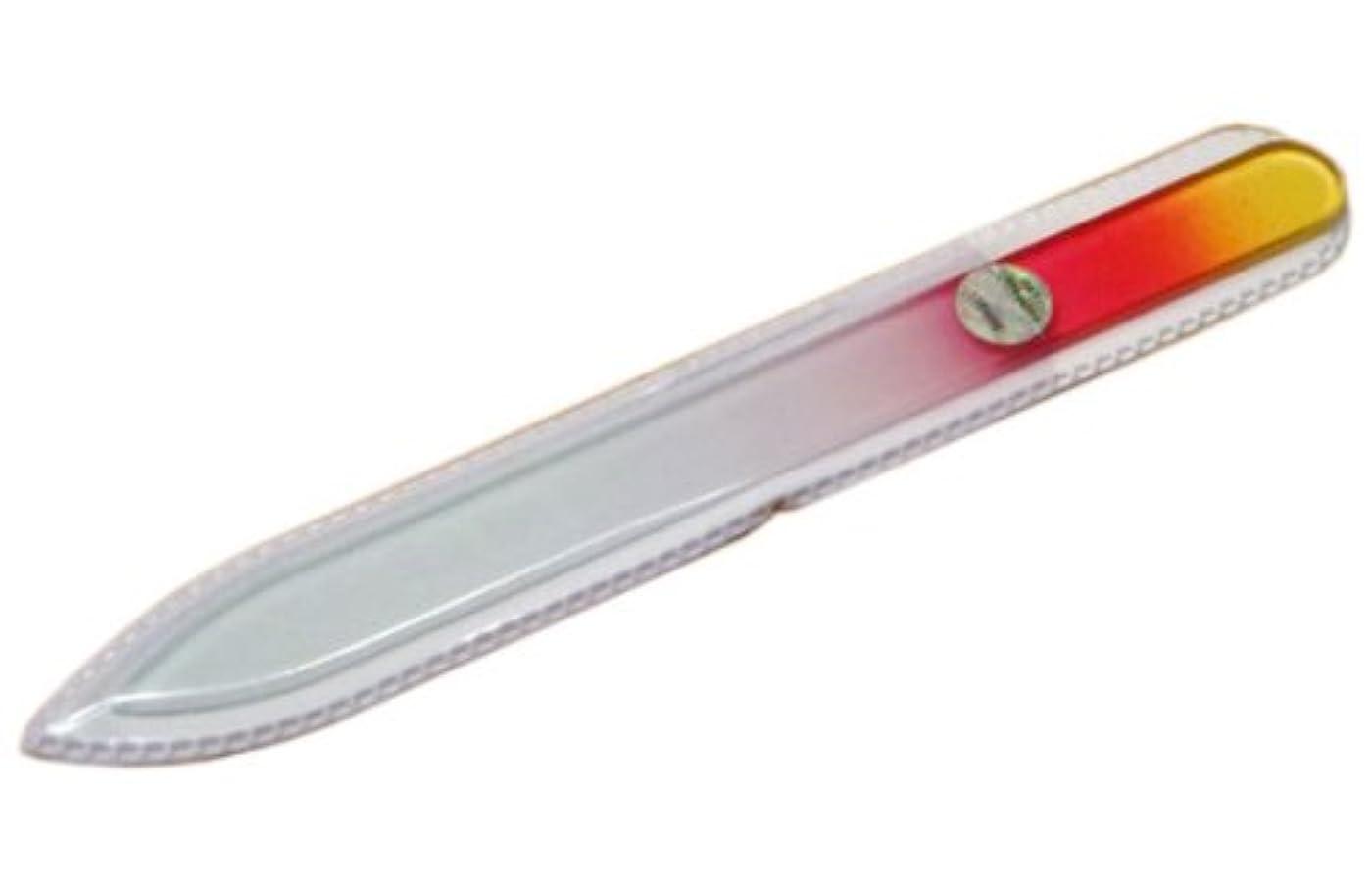 猛烈な畝間値ブラジェク ガラス爪やすり 140mm 片面タイプ(オレンジグラデーション #01)