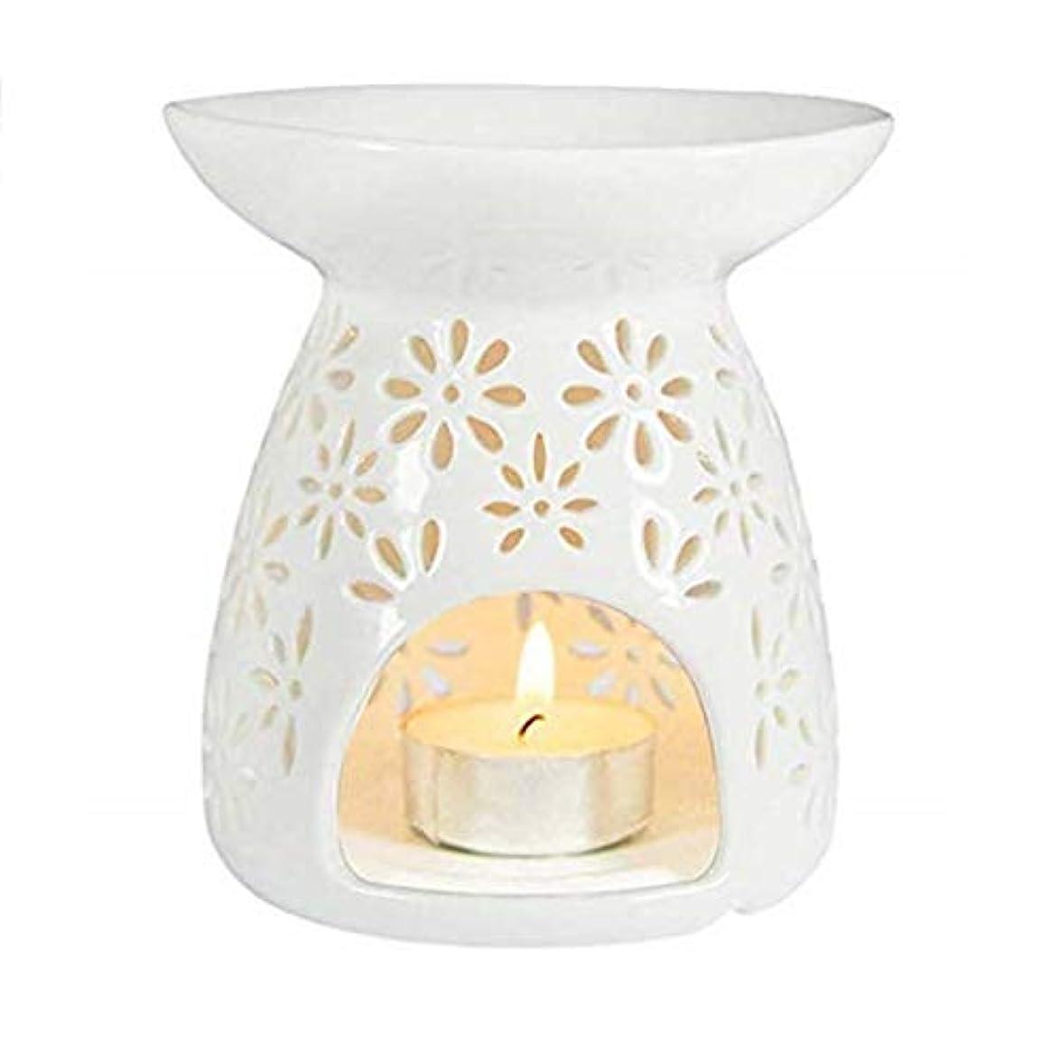 剃るインド最もシンプルモダン中空ラウンドセラミック香炉ホームフレグランスギフト装飾香ホルダーオイルバーナーティーライトホルダー (Color : White, サイズ : 3.74*3.93inchs)