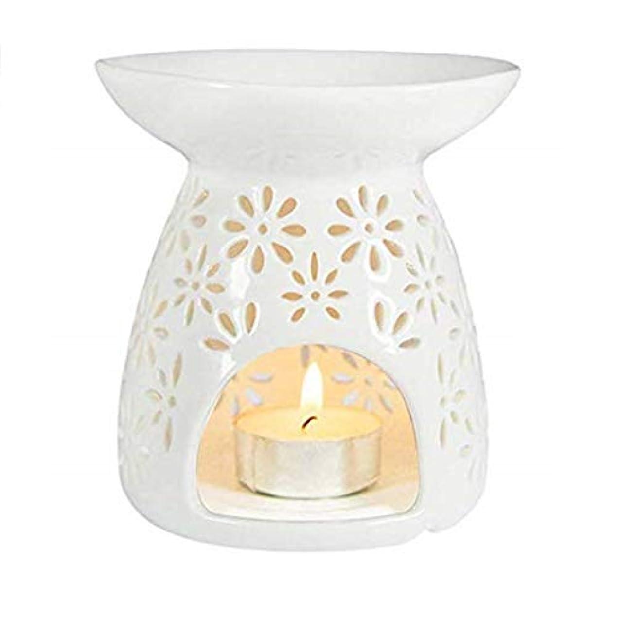長老ラリー似ているシンプルモダン中空ラウンドセラミック香炉ホームフレグランスギフト装飾香ホルダーオイルバーナーティーライトホルダー (Color : White, サイズ : 3.74*3.93inchs)