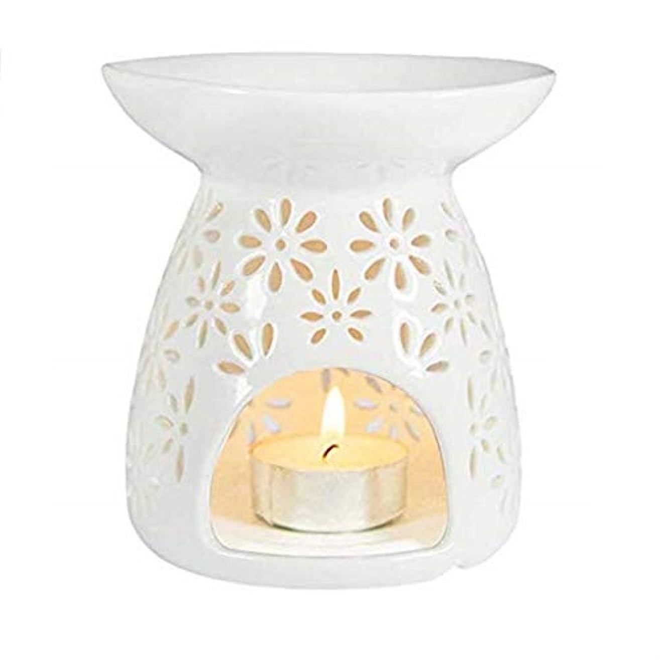 小麦ショッキング争いシンプルモダン中空ラウンドセラミック香炉ホームフレグランスギフト装飾香ホルダーオイルバーナーティーライトホルダー (Color : White, サイズ : 3.74*3.93inchs)