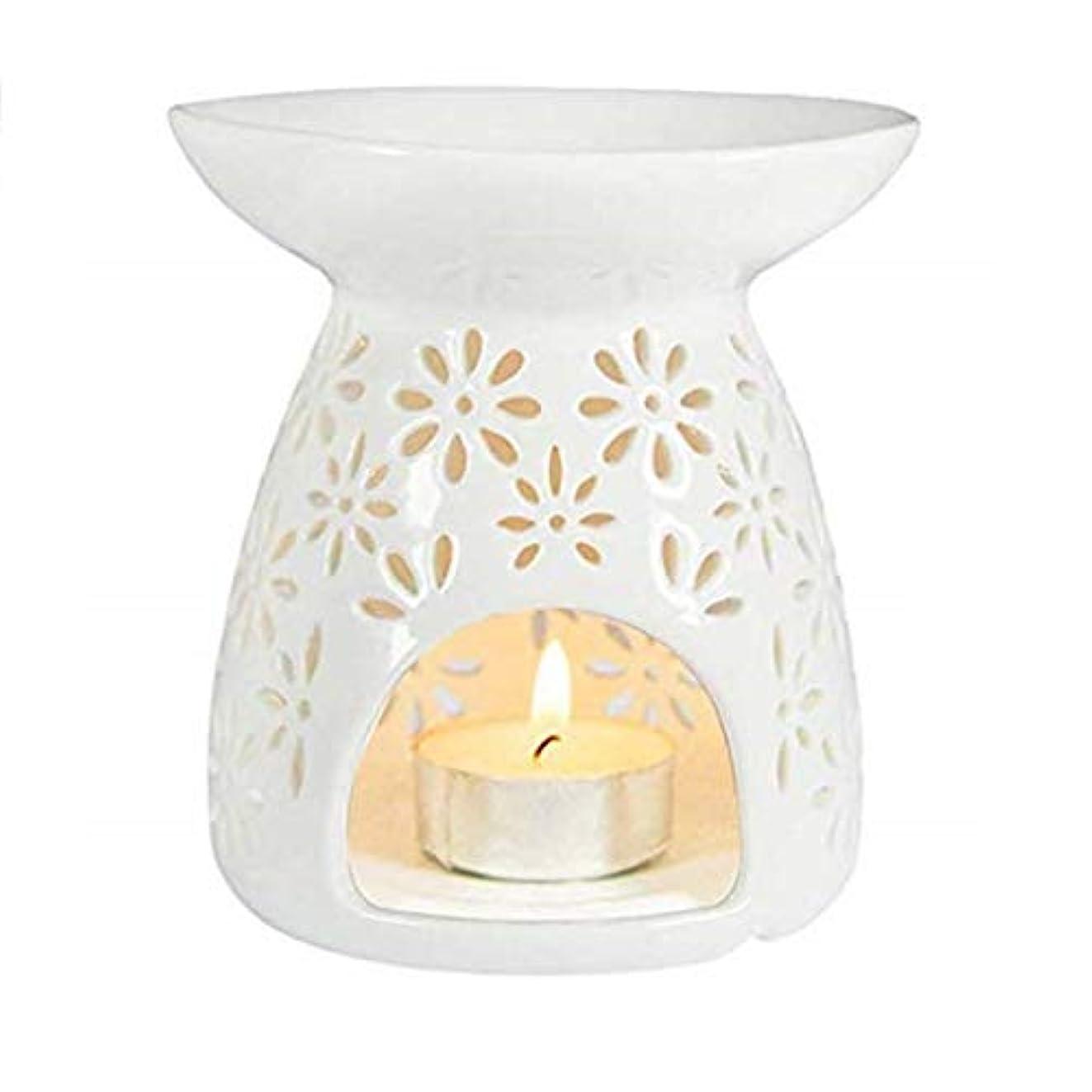 フロント回答カヌーシンプルモダン中空ラウンドセラミック香炉ホームフレグランスギフト装飾香ホルダーオイルバーナーティーライトホルダー (Color : White, サイズ : 3.74*3.93inchs)