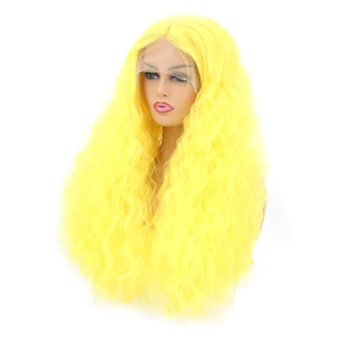 フィクションジーンズ土地Kerwinner 本物の髪として自然な女性のための長い巻き毛の波状のかつら合成のカラフルなコスプレデイリーパーティーウィッグ (Size : 26 inches)