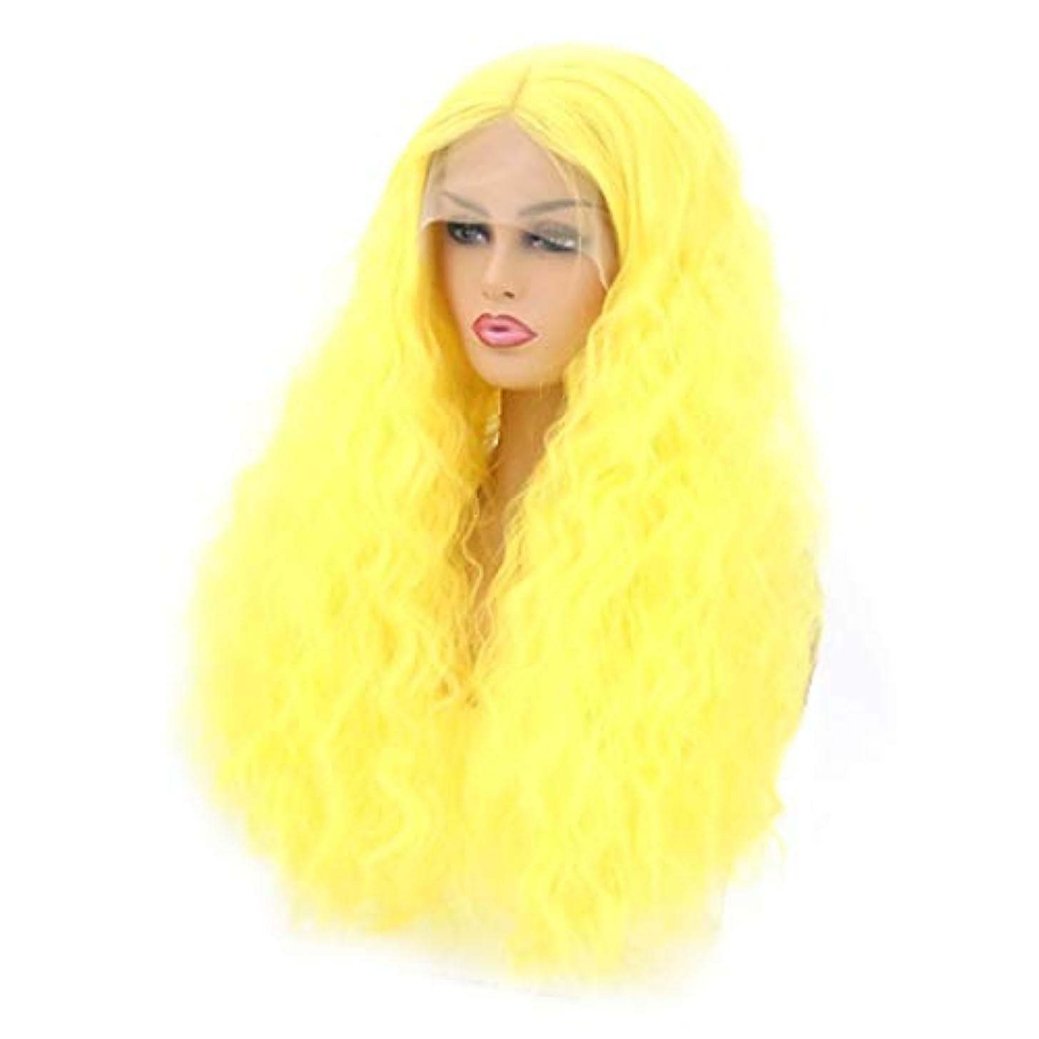 プレビスサイト未知のトロリーKerwinner 本物の髪として自然な女性のための長い巻き毛の波状のかつら合成のカラフルなコスプレデイリーパーティーウィッグ (Size : 18 inches)