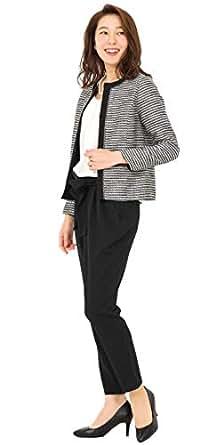 (アッドルージュ) AddRouge スーツ レディース パンツスーツ ジャケット ストレッチ 入学式 卒業式 入園式 卒園式 母 ママ セレモニー フォーマル 【t5260】 ブラックミックス×オフホワイト 11号