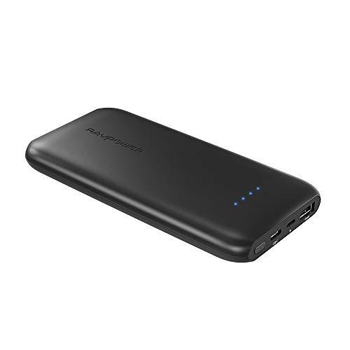 モバイルバッテリー RAVPower 薄型 10000mAh ( USB-C + USB 、 急速充電 )ポータブル充電器 iPhone/iPad/Android 等対応 RP-PB078 黒