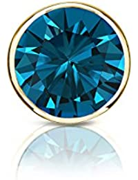 18 Kゴールドメンズbezel-setラウンドブルーダイヤモンドシングルスタッドイヤリング( 1 / 8 – 1 CT、ブルー、i1 - i2 ) screw-back