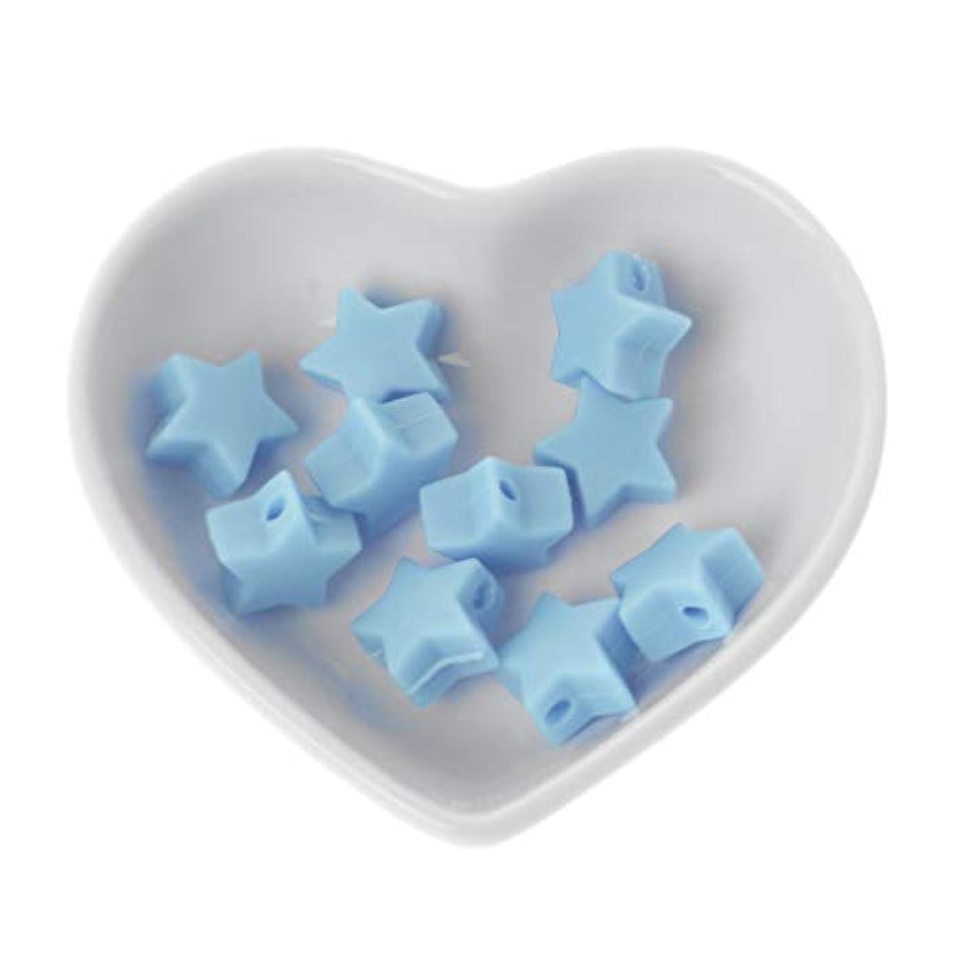 LANDUM 10個シリコーンビーズ15mmスターシリカティーザービーズの赤ちゃんのおもちゃDIYおしゃぶりチェーンアクセサリー - アップルグリーン