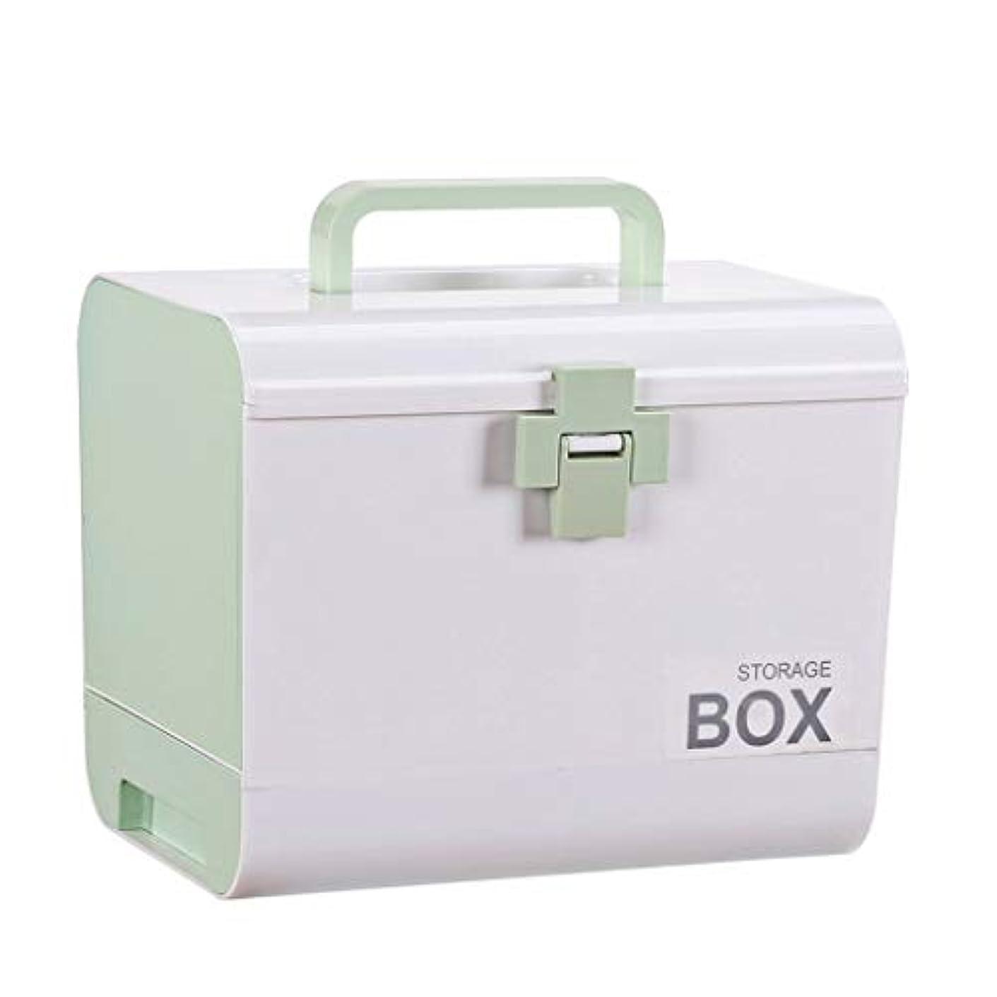 溶融無視勉強する二重層の薬品箱の大きい容量、大きいの薬の収納箱の家の救急箱 HUXIUPING (Color : Green)