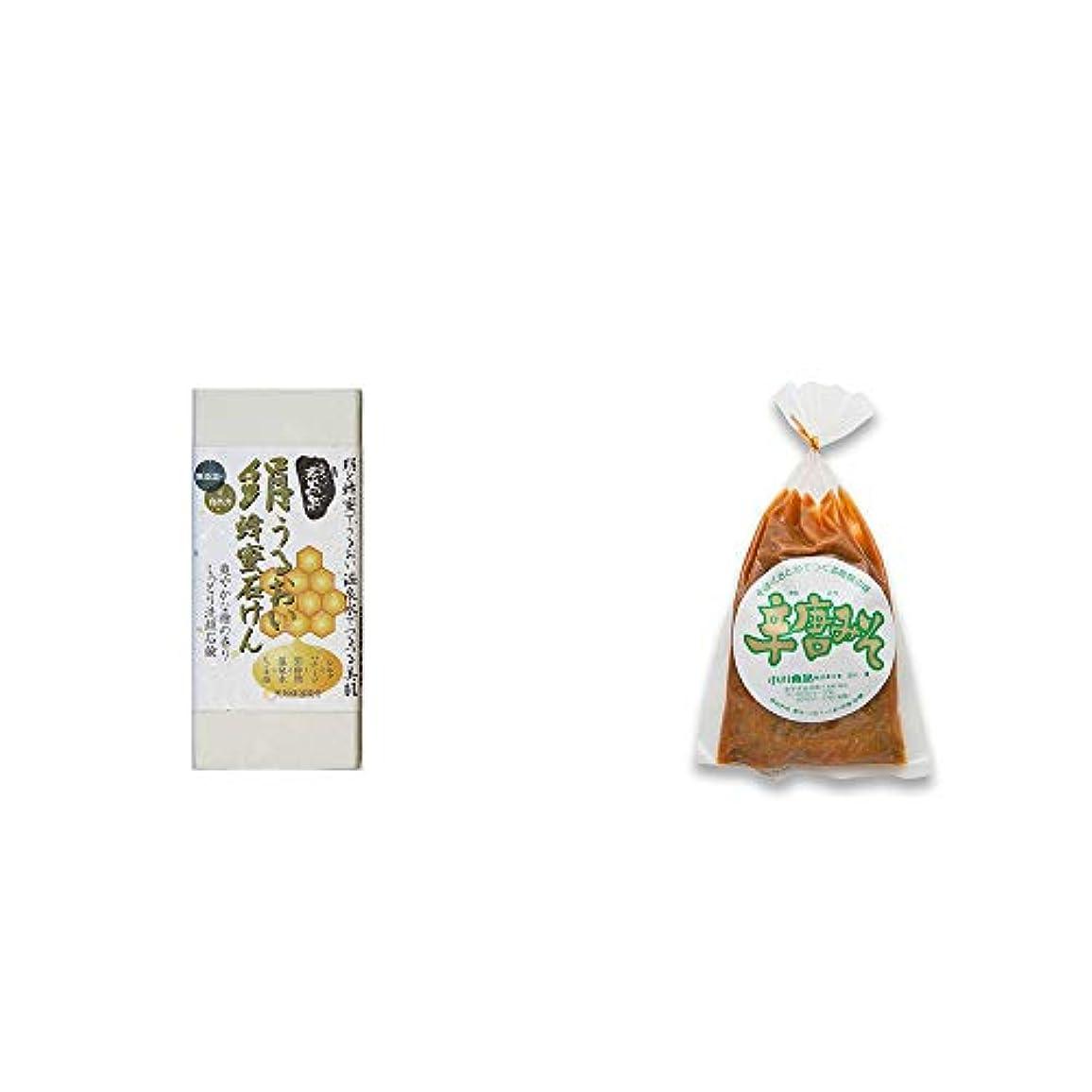 摩擦結果サリー[2点セット] ひのき炭黒泉 絹うるおい蜂蜜石けん(75g×2)?辛唐みそ(130g)