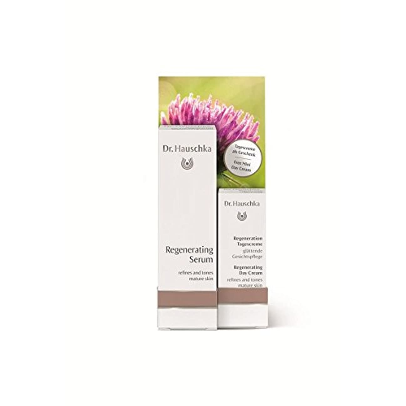 光沢のあるシャワーにんじん無料の再生デイクリーム5ミリリットルで血清を再生ハウシュカ x4 - Dr. Hauschka Regenerating Serum with a Free Regenerating Day Cream 5ml (Pack...