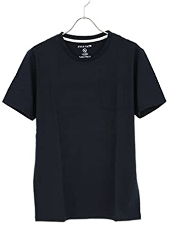 汗じみ防止 Tシャツ メンズ Uネック 無地 カットソー カジュアル 吸汗速乾 消臭 抗菌 S280608-08FZ ネイビー LL