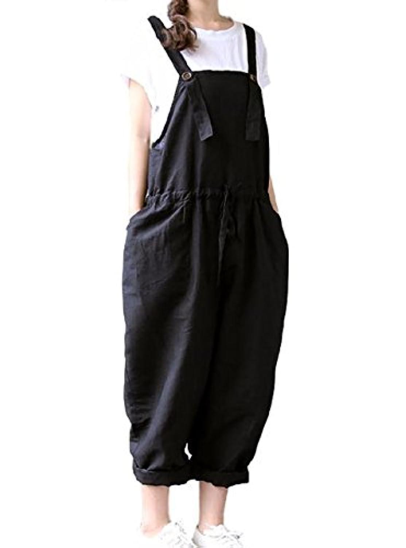 [ジルア] サロペット サルエル パンツ 留めボタン オーバーオール M ~ 3XL 黒 ブラック ゆったり シンプル 大きい サイズ レディース #023