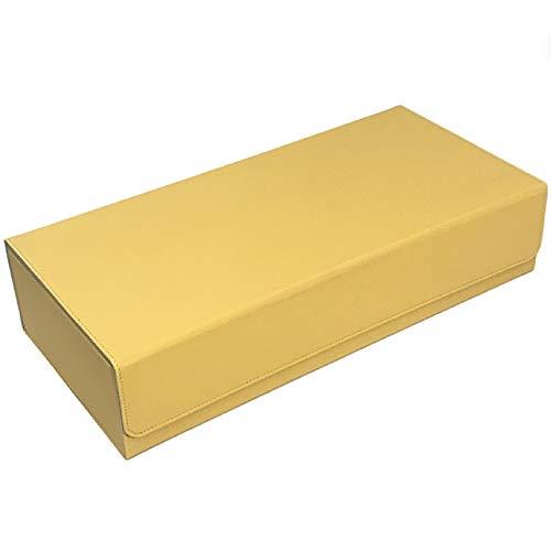 [Cicogna] トレカ カードデッキケース トレーディングカード 約550枚収納 レザー カードケース ホルダー ストレージボックス (タイプD: イエロー)