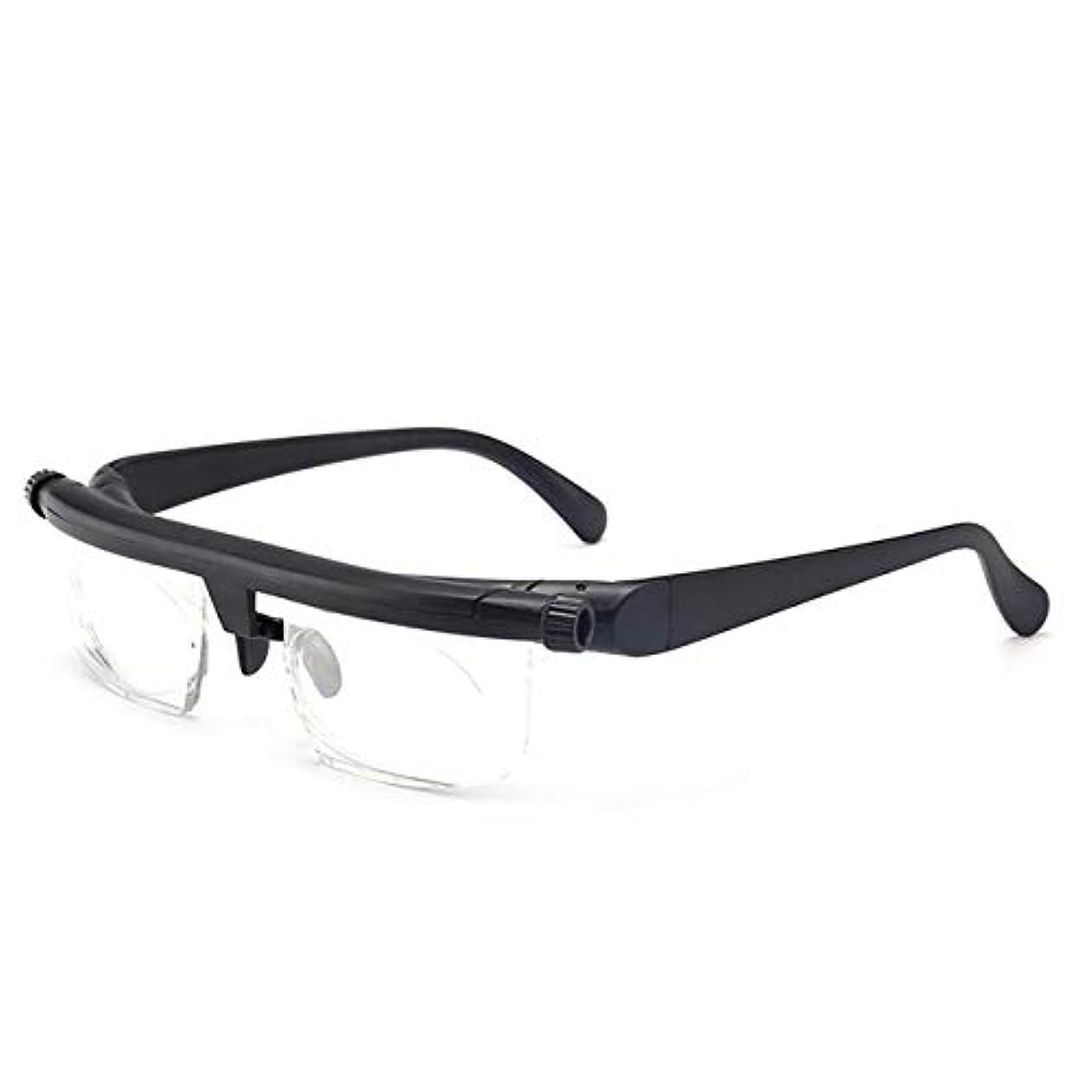 チート計算前書き軽量調節可能な老眼鏡近視眼鏡-6D?+ 3Dジオプトリー可変強度フォーカスビジョンを拡大(カラー:ブラック&クリア)