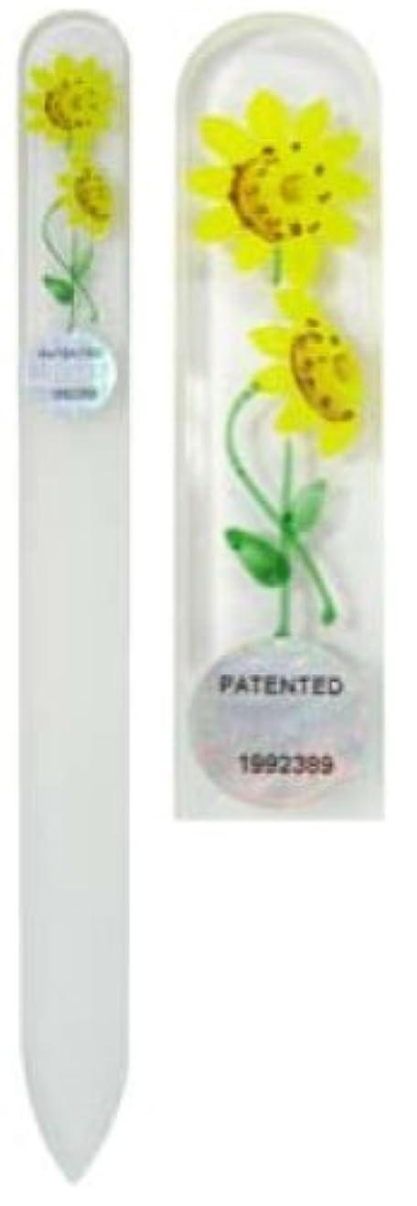 女王データ合併Blazek(ブラジェク) ガラス製爪やすり ハンドペイントMサイズ 140mm チェコ製 ひまわり 82SYP104