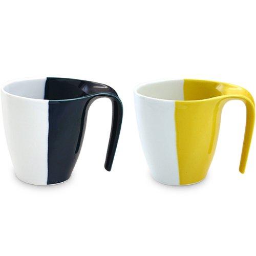 スッと持ちやすい 有田焼 ルリ釉・イエロー釉 ペアマグカップ