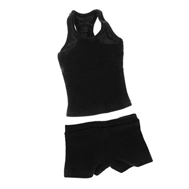 Baosity ドール用 コットン 製 1/6スケール ベスト &下着 セット 衣類 12インチ フィギュアボディ男性適用 おしゃれ - ブラック